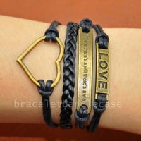 Bronze love bracelet ,heart charm bracelet ,leather & cotton ropes cuff bracelet , infinity wrist bracelet ,friendship  d-328