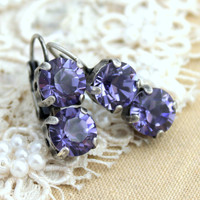 Purple silver crystal rhinestone hook earrings - silver plated oxidized real Swarovski crystals.