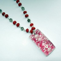 Pink Damask Pendant Necklace
