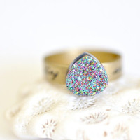 OOAK Rainbow Titanium Druzy Ring 04 by DobleEle on Etsy