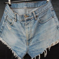 PHILLADELPHIA high waisted late 80s&#x27; vintage distressed faded blue levis jeans shorts