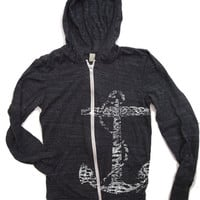 Unisex Vintage ANCHOR Eco Black Heather Hoody - Alternative apparel XS S M L XL