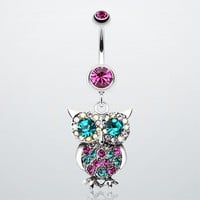 Jeweled Sparkling Owl Dangle Belly Ring