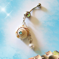 Hawaiian Tropical Seashell, With Blue Crystal and Dangling Pearl, Belly Button Navel ring, Belly Button Jewelry for Her
