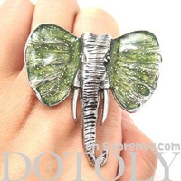 Adjustable Elephant Animal Ring in Silver with Green Glitter Ears