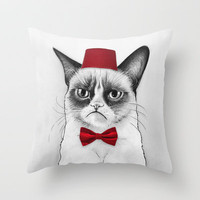 Grumpy Cat Dr Who Tard Portrait Throw Pillow by Olechka