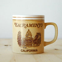 Vintage Sacramento Mug Summer Road Trip Souvenir 1970s California