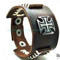 Cuff Brown Leather Bracelet  mens bracelet cool bracelet jewelry bracelet bangle bracelet  cuff bracelet 2252S