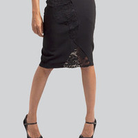 Black pencil skirt with lace insets by JaneClarbour