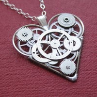Mechanical Heart Necklace &quot;Steely&quot; Clockwork Gears Heart Steampunk Necklace Clockwork Love Sculpture by A Mechanical Mind Mother&#x27;s Day