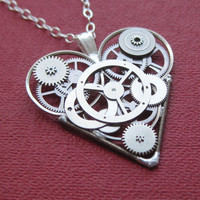 "Mechanical Heart Necklace ""Steely"" Clockwork Gears Heart Steampunk Necklace Clockwork Love Sculpture by A Mechanical Mind Mother's Day"