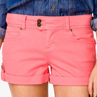 Life In Progress™ Button Tab <br>Colored Denim Shorts | FOREVER 21 - 2000042929