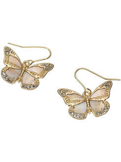 MOP Butterfly Short Drop Earrings at Accessorize