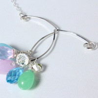 Pastel Jade, Swarovski Crystal and Sterling Wire Necklace