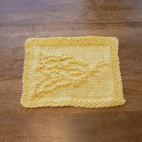 Hand Knit Beautiful Yellow Butterfly Picture Dish Cloth or Wash Cloth