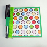 Colorful Polka Dot Print Post It Note Holder with Pen