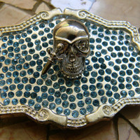 Silver Skull Belt Buckle, Dagger Belt Buckle, Blue Rhinestone Belt Buckle, Steampunk Skull Belt Buckle, Mens Womens Belt