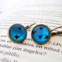 Flying birds earrings Turquoise earrings bronze by KandyDisenos