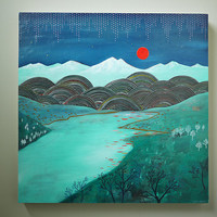 Red Moon original landscape painting 18 x 18 by CathyMcMurray