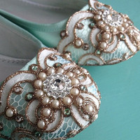 Mint Green Celtic Looping Lace Ballet Flat by BeholdenBridal