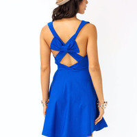 bow-crisscross-skater-dress BLACK CORAL ROYAL - GoJane.com