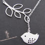 SALE, 10% OFF: Branch and bird lariat necklace in white gold, Bird necklace, branch necklace, bird pendant
