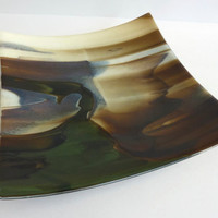 Square Fused Glass Plate in French Vanilla, Brown and Aqua