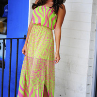 Tropical Animal Maxi Dress: Pink | Hope's