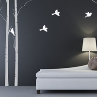 Birch Trees with Birds Fabric Wall Decal
