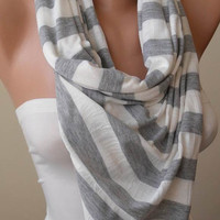 New - Mother's Day - Striped Scarf - Light Grey and Off-White Striped Scarf - Combed Cotton