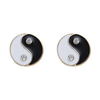 Black and White Yin and Yang Stud Earrings
