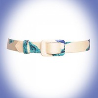 Pinup Couture - Poplin Covered Slide Belt in Blue Rose Print - Accessories | Pinup Girl Clothing