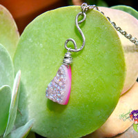 Pink Druzy Necklace - ROCK Candy Gemstone Collection made in Hawaii by Mermaid Tears on North Shore of Oahu