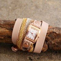 Pink leather wrap watch with a rose gold face by La Mer Collection | shopcuffs.com
