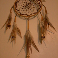 Dream Catcher  Buckskin Tiger&#x27;s Eye Picture Jasper Buffalo Horn Rooster feathers