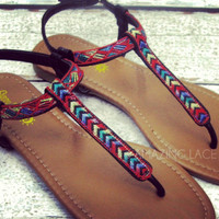 Rockland Black Tribal Knit Ankle Sandals-OUT OF BOX
