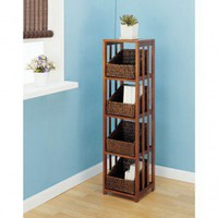 OIA Cocoa Four Shelf Storage Rack in Cocoa - 24614W - Linen Towers &amp; Cabinets - Bed &amp; Bath