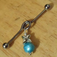 Industrial Barbell - Silver Flower and Pearl Industrial Barbell - Industrial Piercing
