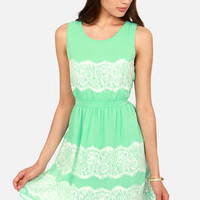 Laced Call Mint Green Lace Dress
