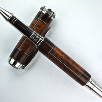 Wooden Pen Rollerball Stabilized Redwood Burl and Claro Walnut Burl and Aluminum Accents Rhodium and  Black Titanium Hardware 438RBA