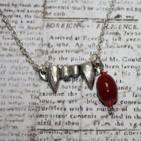 Vampire teeth fangs necklace with large blood drop beads | RockBug - Jewelry on ArtFire