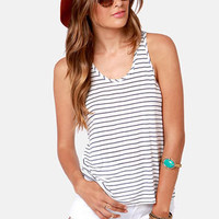Behind Bars White and Blue Striped Tank Top