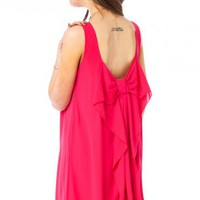 Coletta Bow Tank Dress in Magenta - ShopSosie.com