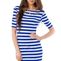 Sheriden Striped Dress in Blue - ShopSosie.com