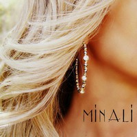 Minali ® - Bohemian Chic Jewelry / Eta - Gold, Swarovski Crystal  Topaz Earrings by Minali