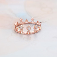 Cubic Tiara Knuckle Ring  Rose Gold // R0007RG // by queenspark