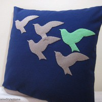 The Unique One. Mint Green Bird In Flying Birds Navy Pillow Cover | SmilingCloud - Housewares on ArtFire