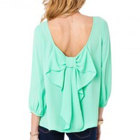 Coletta Bow Blouse in Mint - ShopSosie.com