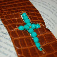 Turquoise Bead Leather Cuff.  Cross Cuff.  Leather Cuff.  Mother's Day Gift.  Free Gift Wrap.  Give Back.