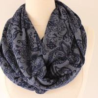Sweater Knit Scarf - Infinity Circle Scarf - Navy Blue Paisley - Lightweight Knit Loop Scarf